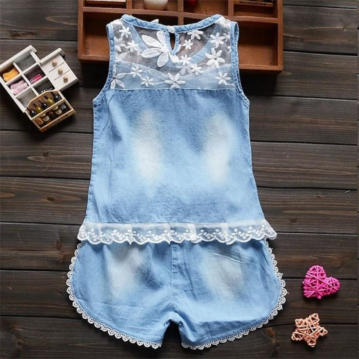 Summer Baby Girls Flower Lace Clothing Sets - Baby Girls