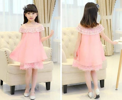 Summer Costume Evening Girls Dress - Pink / 3Y - Girls