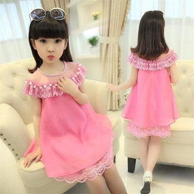 Summer Costume Evening Girls Dress - Rose Red / 3Y - Girls