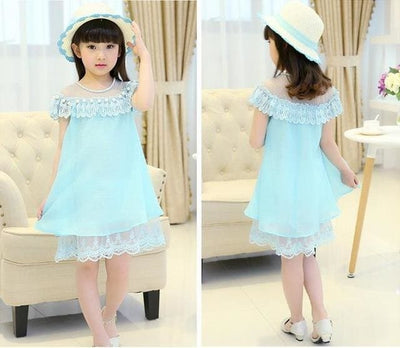 Summer Costume Evening Girls Dress - Sky Blue / 3Y - Girls