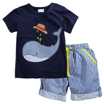 Summer Cotton Knitted Shirt Outfit - Boys