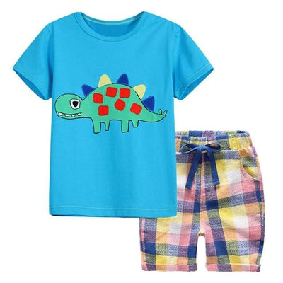 Summer Cotton Knitted Shirt Outfit - Blue / 2Y - Boys