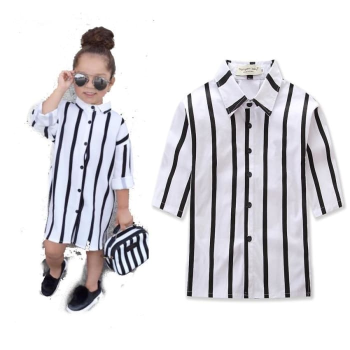 Summer Fashion Baby Girls Long Sleeve Striped Polo Shirts - White / 1Y - Girls