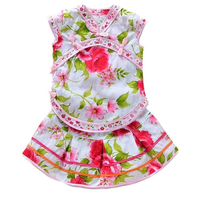 Summer Girls Floral Chinese Style Outfits - Girls