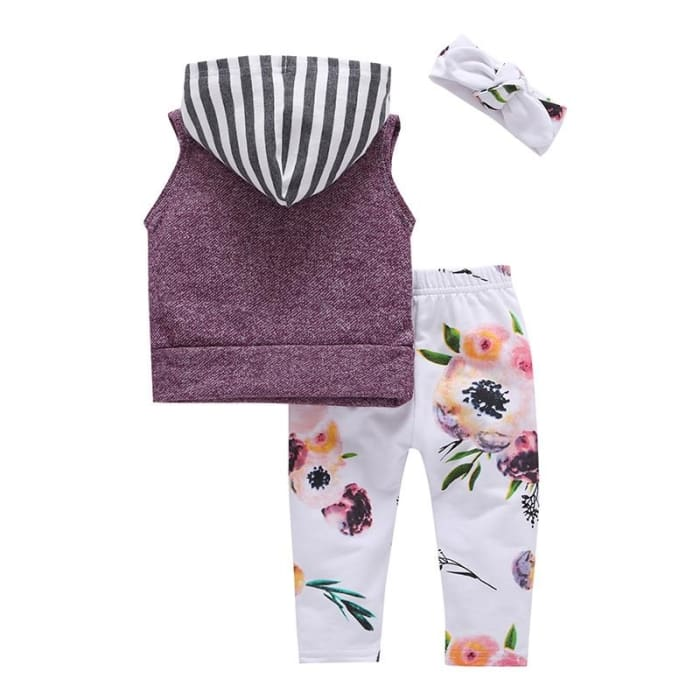 Summer Girls T-Shirt+Leggings Hooded Shorts Floral Costume - 1T - Baby Girls