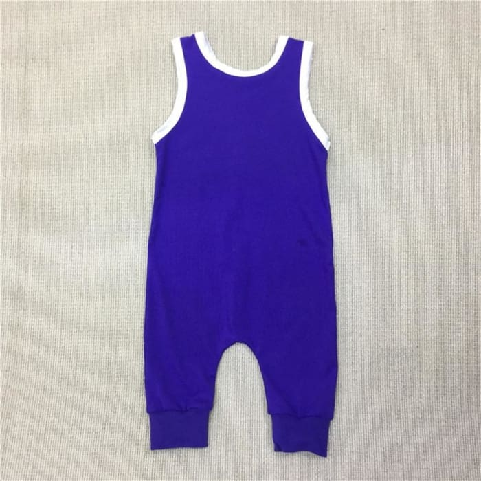 Summer Romper Plain Blue Cotton Jumpsuit - 4Y - Baby Boys