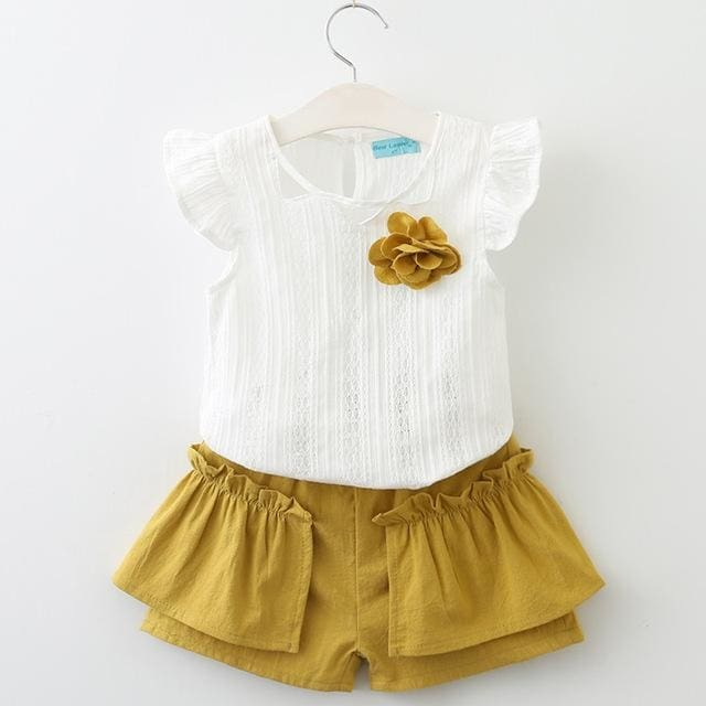 Summer Sleeveless Appliques T-Shirt+Floral Shorts - Girls