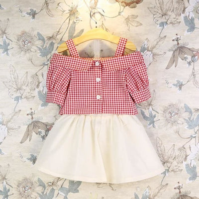 Summer Strapless Blouse+Skirts 2Pcs Baby Girls - Red / 2Y - Girls