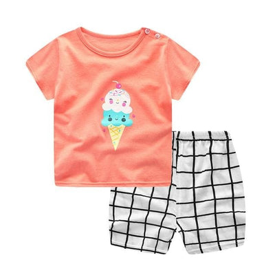 Summer Style Cartoon Clothing Set - S903 (Orange) / 9M - Boys - Outfit
