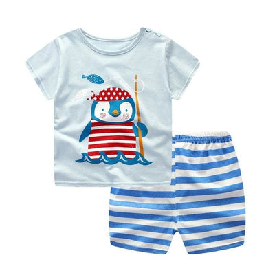Summer Style Cartoon Clothing Set - S904 (White/blue) / 9M - Boys - Outfit