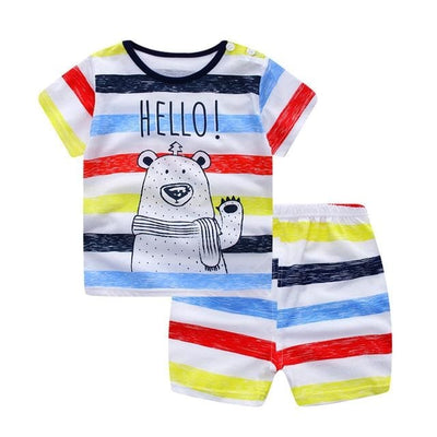 Summer Style Cartoon Clothing Set - S905 (Rainbow) / 9M - Boys - Outfit