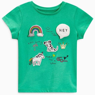 T Shirts For Girls Costumes Unicorn Summer Gils - Green Puppy / 18M - Girls
