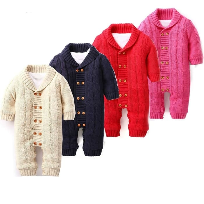 Thick Cotton Winter Warm Baby Rompers - Red / 3M - Baby Boys