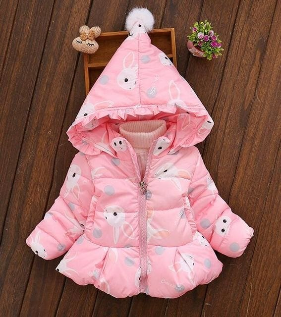 Thicking Jacket Magic Cap Cartoon Rabbit Hooded Coat - Girls