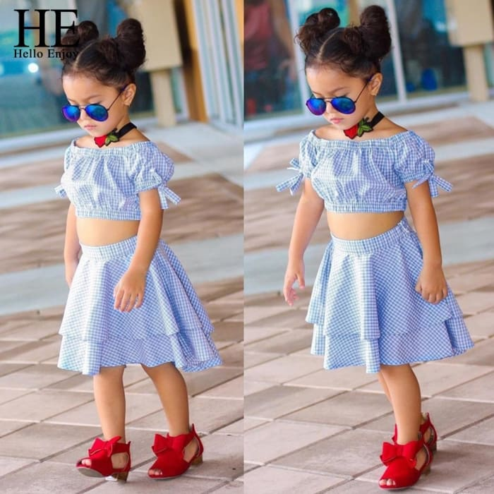 Toddler Girls Summer Clothes - Sky Blue / 1Y - Girls