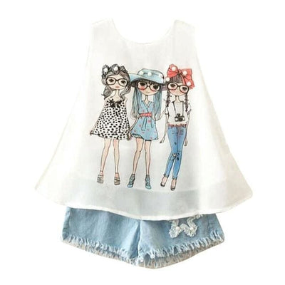 Top Denim Shorts - Blue / 2Y / China - Girls - Outfit