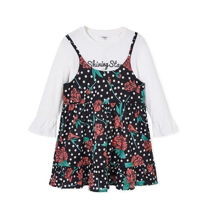 Two Piece Floral Dress - Black / 2Y - Girls