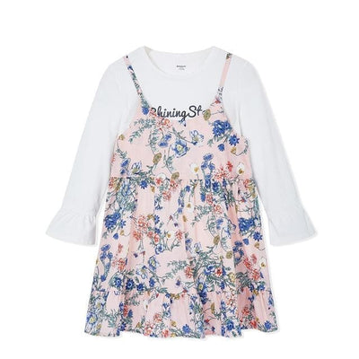 Two Piece Floral Dress - White / 2Y - Girls