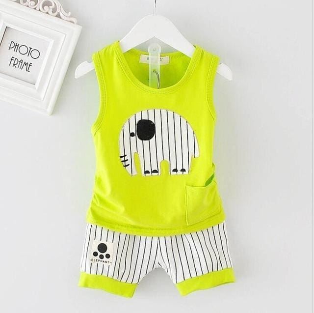 Vest Pants Set Cartoon Clothes Casual 2Pcs - Orange / 9M - Boys