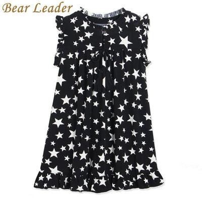 White Five-Pointed Star Black - Girls