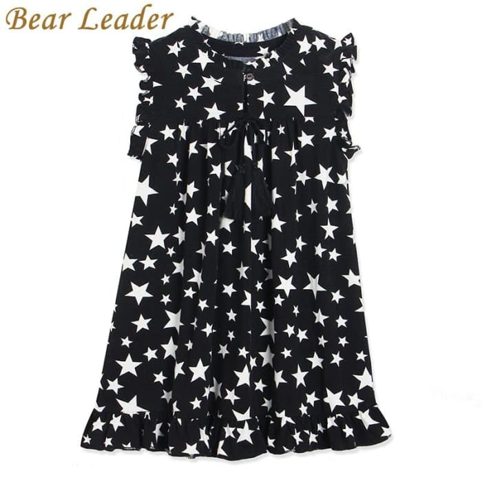 White Five-Pointed Star Black - Black / 3Y - Girls