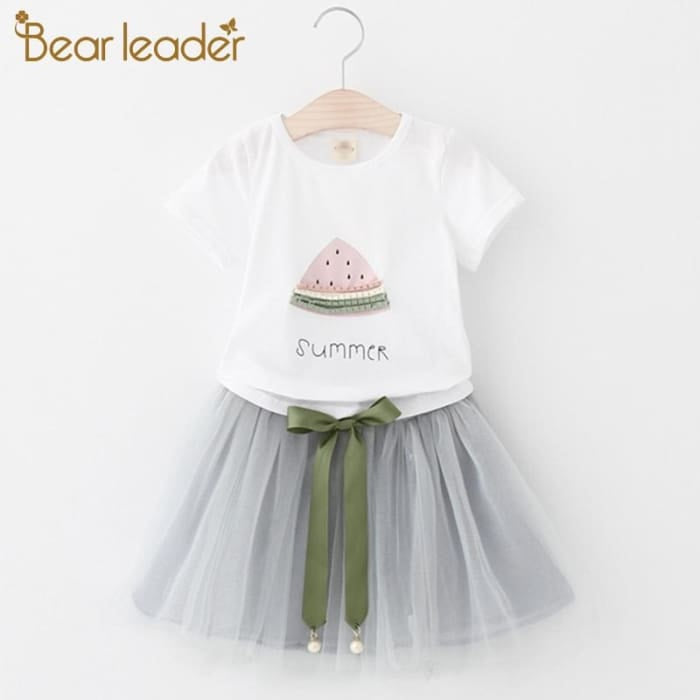 White Short T-Shirt +Short Skirt - Pink / 3Y - Girls