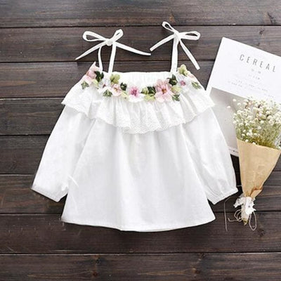 White Shoulder Off Summer Tops - White / 2Y - Girls - Tops