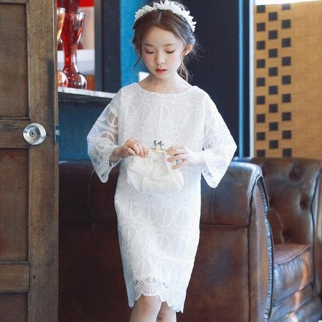 White Spring Cotton Long Sleeve Dress - Girls