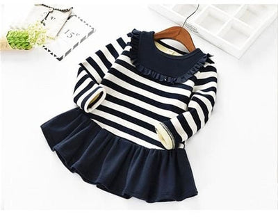 Winter Baby Girls Striped Lace Dress - Dark Blue / 2Y - Girls