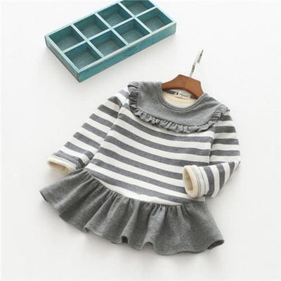 Winter Baby Girls Striped Lace Dress - Grey / 2Y - Girls