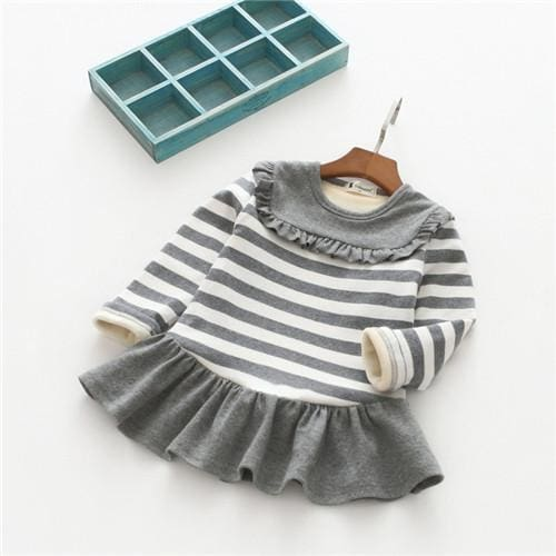 Winter Baby Girls Striped Lace Dress - Girls