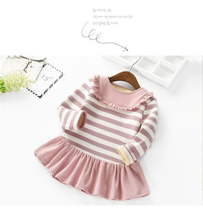 Winter Baby Girls Striped Lace Dress - Pink / 2Y - Girls