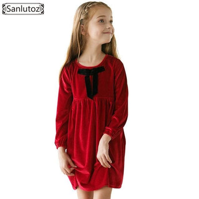 Winter Girl Dress Bow - Red / 10Y - Girls