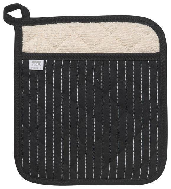 Now Designs Superior Pot Holder Black Pinstripe