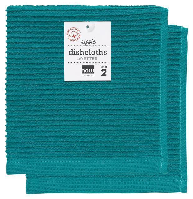 Now Designs Ripple Dish Cloths Set of 2 Peacock