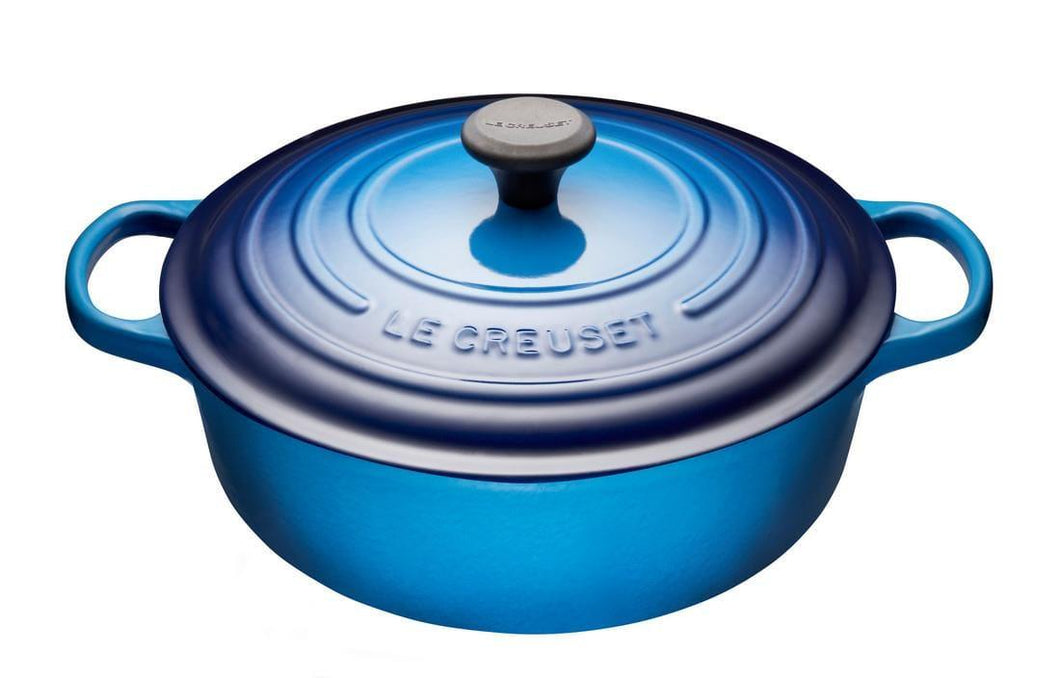 Le Creuset 6.2L Shallow Round Cast Iron Dutch Oven Blueberry