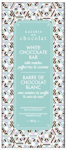 Galerie au Chocolat White Chocolate Matcha, Puffed Rice and Coconut Bar 80g