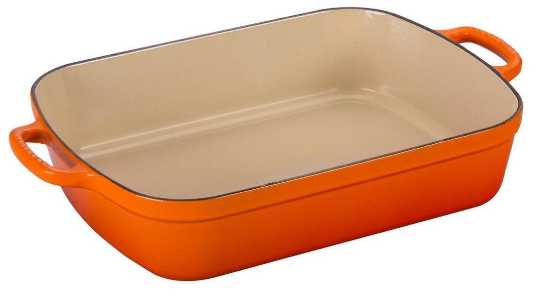 Le Creuset 4.9L Rectangle Cast Iron Roasting Pan Flame