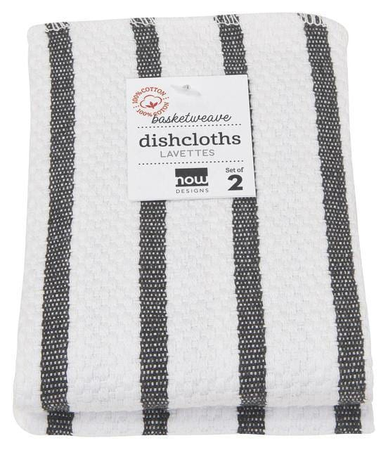 Now Designs Basketweave Dish Cloths Set of 2 Black