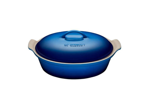 Le Creuset 2.35L Oval Casserole With Lid Hetirage Stoneware Blueberry