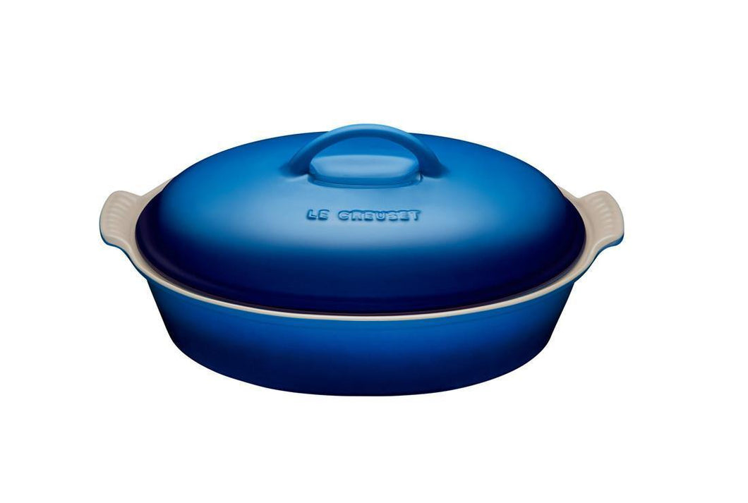 Le Creuset 3.8L Oval Casserole With Lid Hetirage Stoneware Blueberry