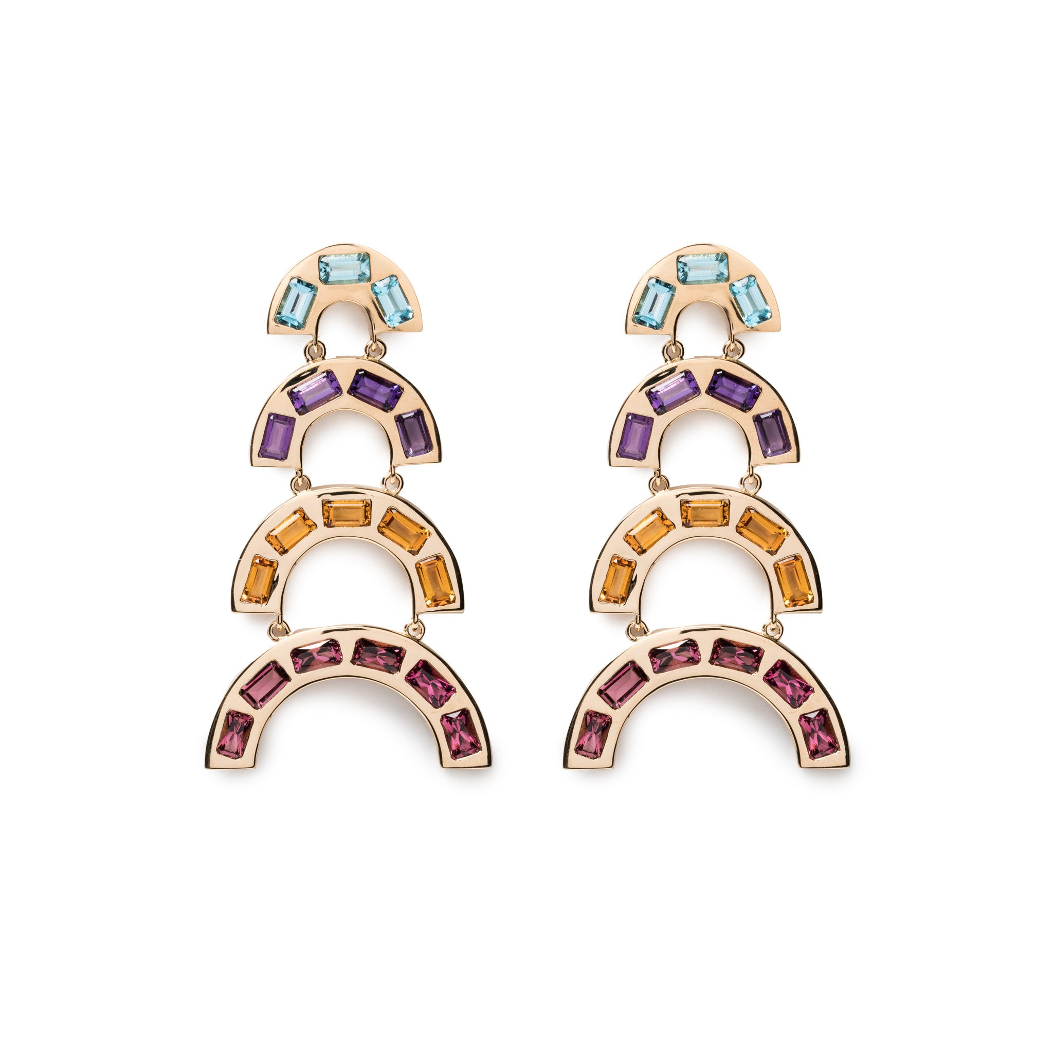 Rainbow Tiered Earrings