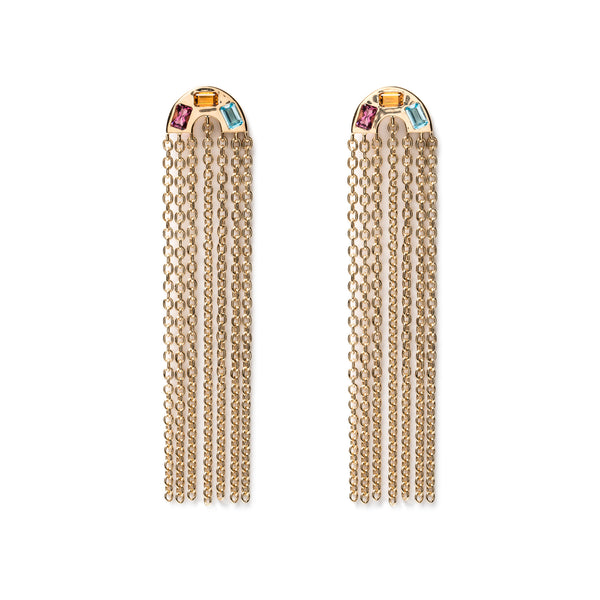 Rainbow Tassle Earrings - Small