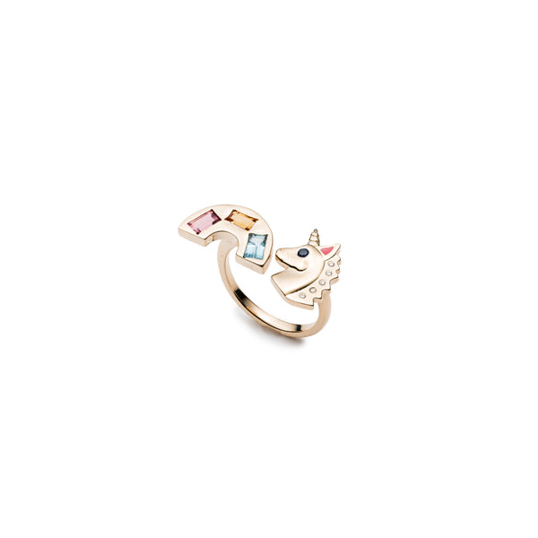 Rainbow & Unicorn Double Sided Ring
