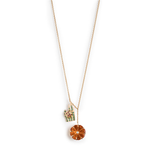 "Wildflower & Grass Charm Necklace (16"")"