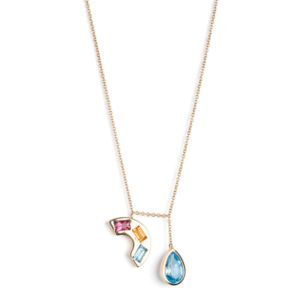"Rainbow & Raindrop Charm Necklace (16"")"