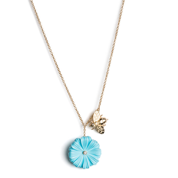 "Wildflower & Bee Charm Necklace (16"")"