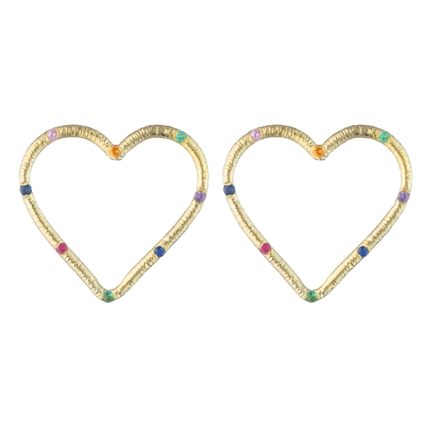 Large Textured Heart Stud Earrings with Precious Gemstones