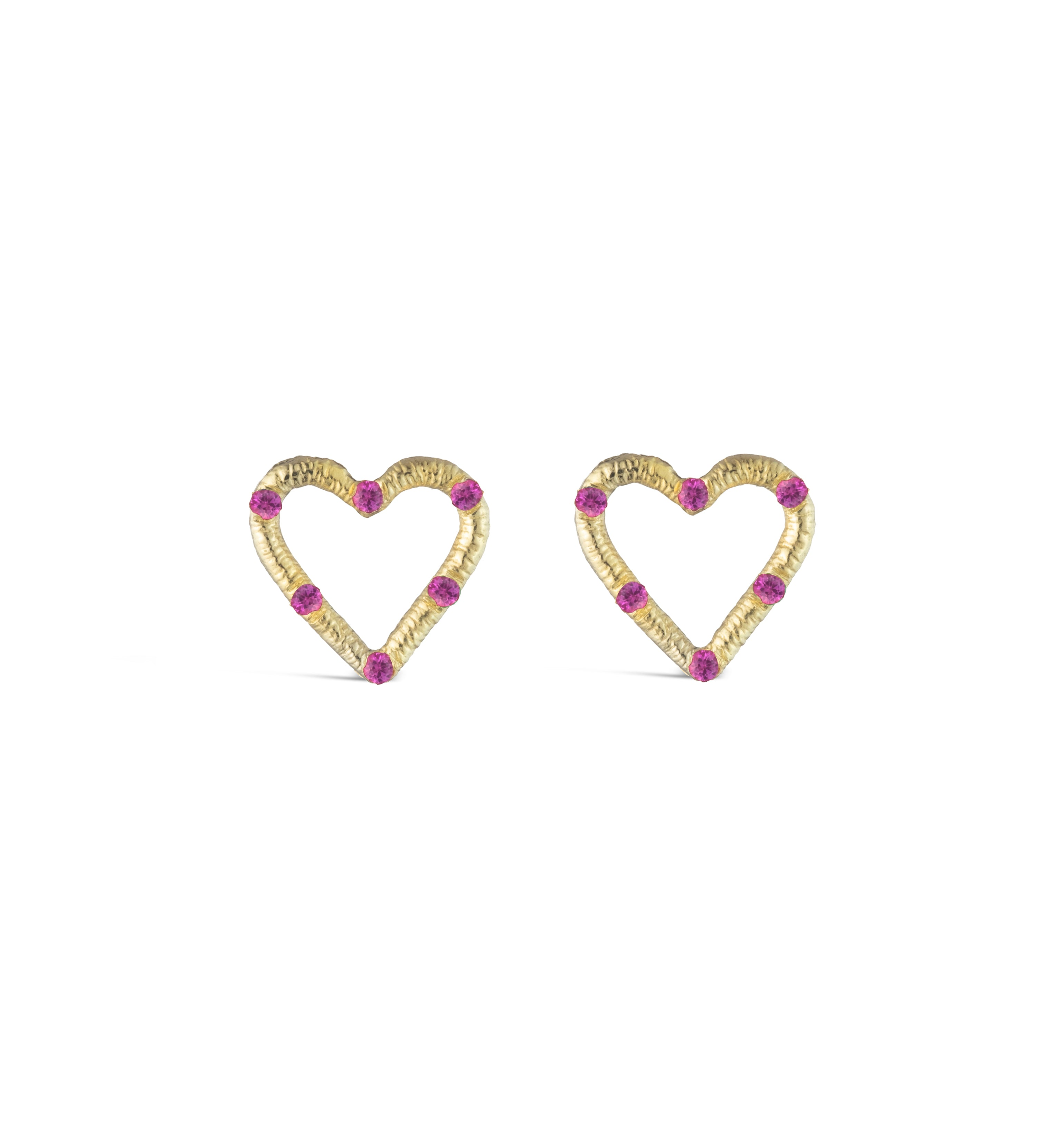 Mini Textured Heart Studs with Precious Stones