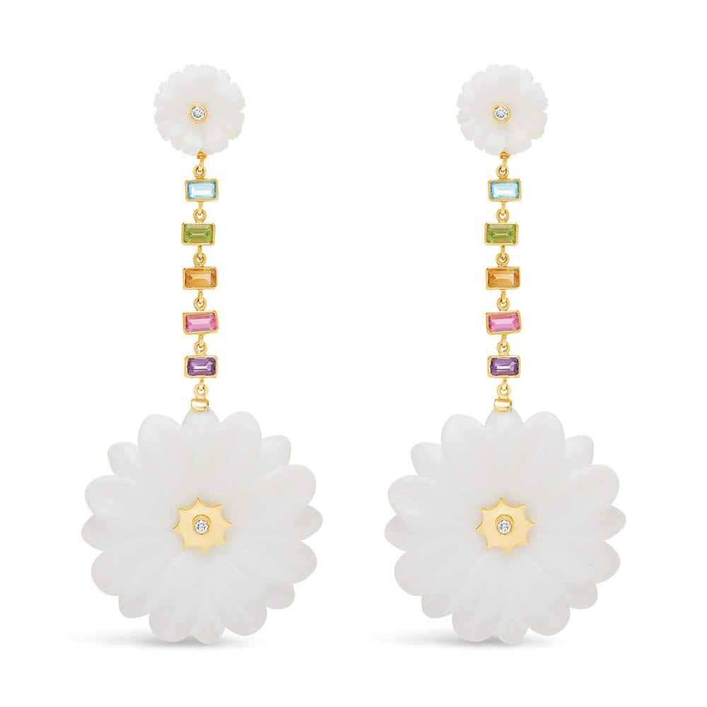 Large Double Wildflower Drop Earrings